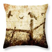 Crows And The Corner Fence Throw Pillow