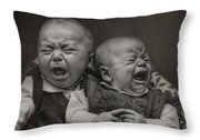 Cry Babies Throw Pillow by Pat Abbott