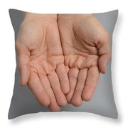 Cupped Hands Throw Pillow