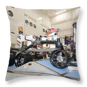 Curiosity Rover In The Testing Facility Throw Pillow