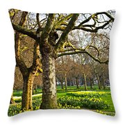 Daffodils In St. James's Park Throw Pillow by Elena Elisseeva