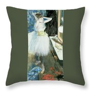 Dancer In Her Dressing Room Throw Pillow by Edgar Degas