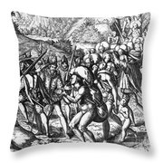 De Bry: Spanish Conquest Throw Pillow