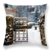 Decorative Iron Gate In Winter Throw Pillow