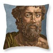 Demosthenes, Ancient Greek Orator Throw Pillow by Photo Researchers