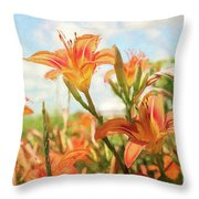 Digital Painting Of Orange Daylilies Throw Pillow