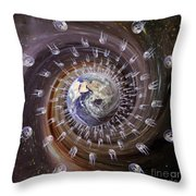 Digitally Enhanced Image Of The Earth Throw Pillow