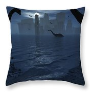 Dinosaurs Feed Near The Shores Throw Pillow