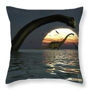 Diplodocus Dinosaurs Bathe In A Large Throw Pillow