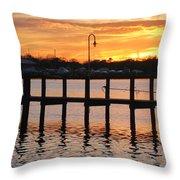 Dock Sunset Throw Pillow