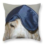 Dog With A Sleep Mask Throw Pillow