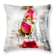 Dried Rose Buds Throw Pillow