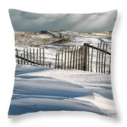 Drifting Snow Along The Beach Fences At Nauset Beach In Orleans  Throw Pillow