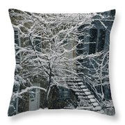Drolet Street In Winter, Montreal Throw Pillow