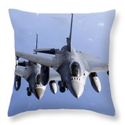 Dutch F-16ams During A Combat Air Throw Pillow