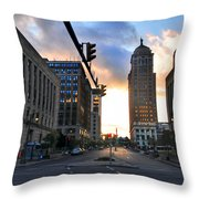 Early Morning Court Street Throw Pillow