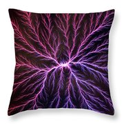 Electrical Discharge Lichtenberg Figure Throw Pillow by Ted Kinsman