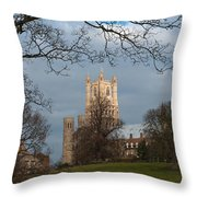 Ely Cathedral In City Of Ely Throw Pillow