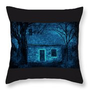 Enchanted Moonlight Cottage Throw Pillow