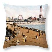 England: Blackpool, C1900 Throw Pillow