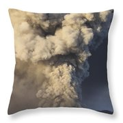 Eruption Of Ash Cloud From Mount Bromo Throw Pillow