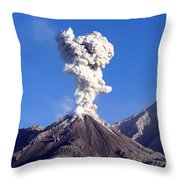 Eruption Of Ash Cloud From Santiaguito Throw Pillow