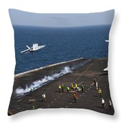 Fa-18f Super Hornets Launch Throw Pillow