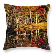 Fall Forest Reflections Throw Pillow by Elena Elisseeva