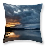 Fall Sunset Over Lake Pend Oreille Throw Pillow