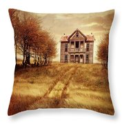 Farm House On Hill With Autumn Scenery Throw Pillow