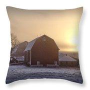 Farm Winter Sunrise Throw Pillow