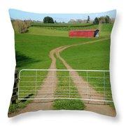 Farming Scene Throw Pillow