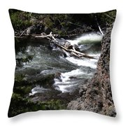 Fast Moving Firehole River Throw Pillow