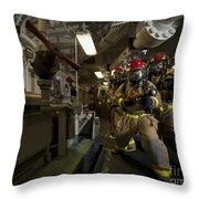 Firemen Combat A Simulated Fire Aboard Throw Pillow