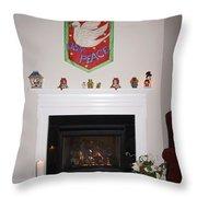 Fireplace At Christmas Throw Pillow