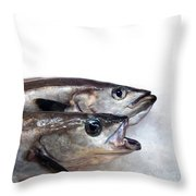 Fish On Ice Throw Pillow