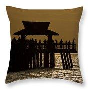 Fishing At Naples Pier Throw Pillow
