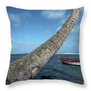 Fishing Boat And Palm Trunk Throw Pillow