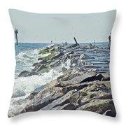 Fishing The Jetty - Island Beach State Park   Nj Throw Pillow