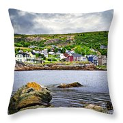 Fishing Village In Newfoundland Throw Pillow by Elena Elisseeva