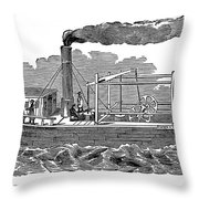 Fitchs Steamboat, C1790 Throw Pillow