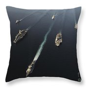 Fleet Of Navy Ships Transit The Arabian Throw Pillow