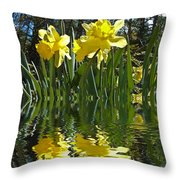 Flooded Daffodils Throw Pillow