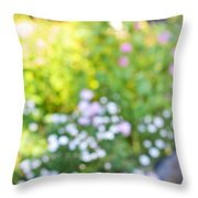 Flower Garden In Sunshine Throw Pillow