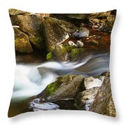 Flowing River Blurred Through Rocks Throw Pillow