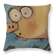 Flying Pig First Flight Throw Pillow