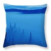 Fog At Dawn, Stewart Crossing, Yukon Throw Pillow