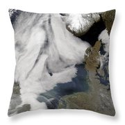 Fog In The North Sea Throw Pillow