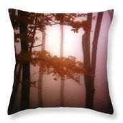 Foggy Misty Trees Throw Pillow