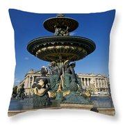 Fountain At Place De La Concorde. Paris. France Throw Pillow
